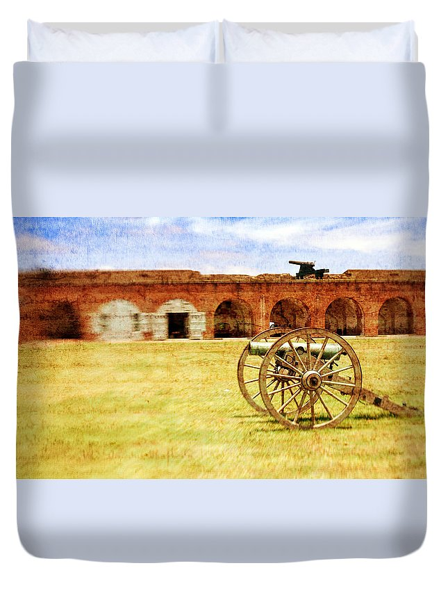 Fort Duvet Cover featuring the photograph Old Fort And Cannon Still Liife by Lynne Daley