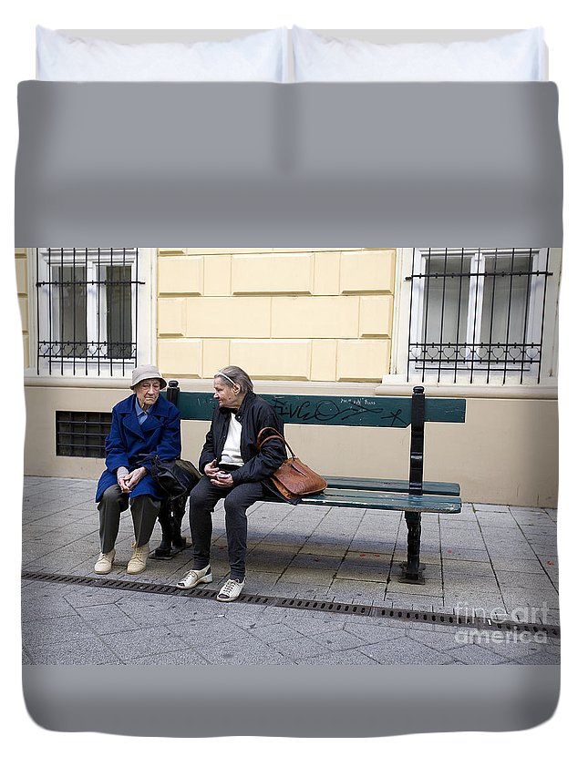 Friends Duvet Cover featuring the photograph Old Friends by Madeline Ellis