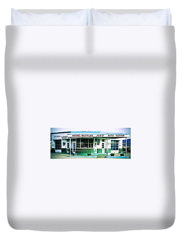 Americana Duvet Cover featuring the photograph Old Gas Station Green Tile by Marilyn Hunt
