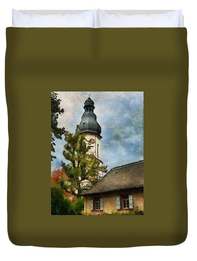 Religion Duvet Cover featuring the digital art Old German Church Tower by Judy Coggin