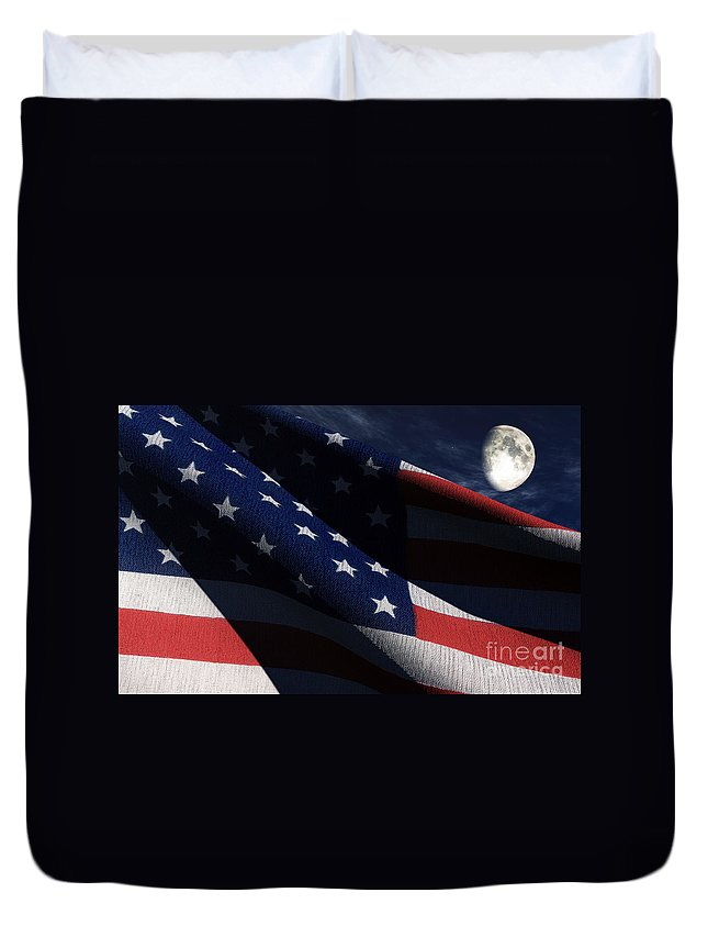 Us Flags Duvet Cover featuring the digital art Old Glory 2 by Richard Rizzo