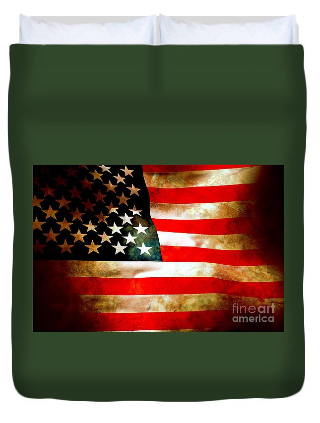 Flag Duvet Cover featuring the photograph Old Glory Patriot Flag by Phill Petrovic
