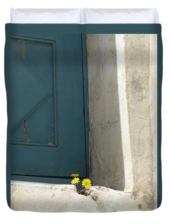 Old Duvet Cover featuring the photograph Old Greek Door by Valerie Ornstein