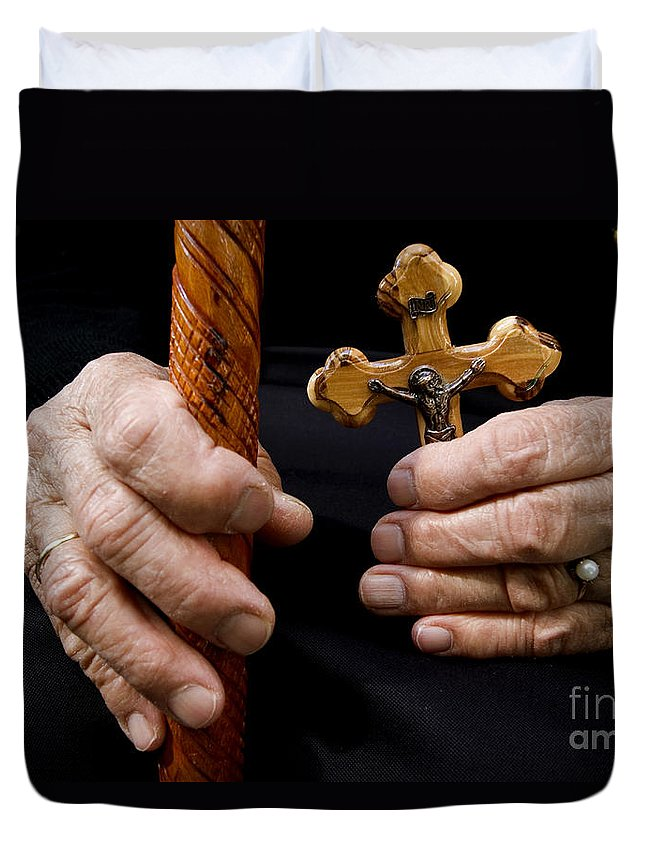 Old Duvet Cover featuring the photograph Old Hands And Crucifix by Danny Yanai