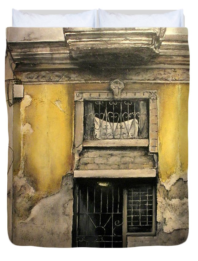 Havana Duvet Cover featuring the painting Old Havana-cuba by Tomas Castano