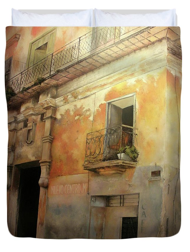 Havana Cuba Duvet Cover featuring the painting Old Havana by Tomas Castano