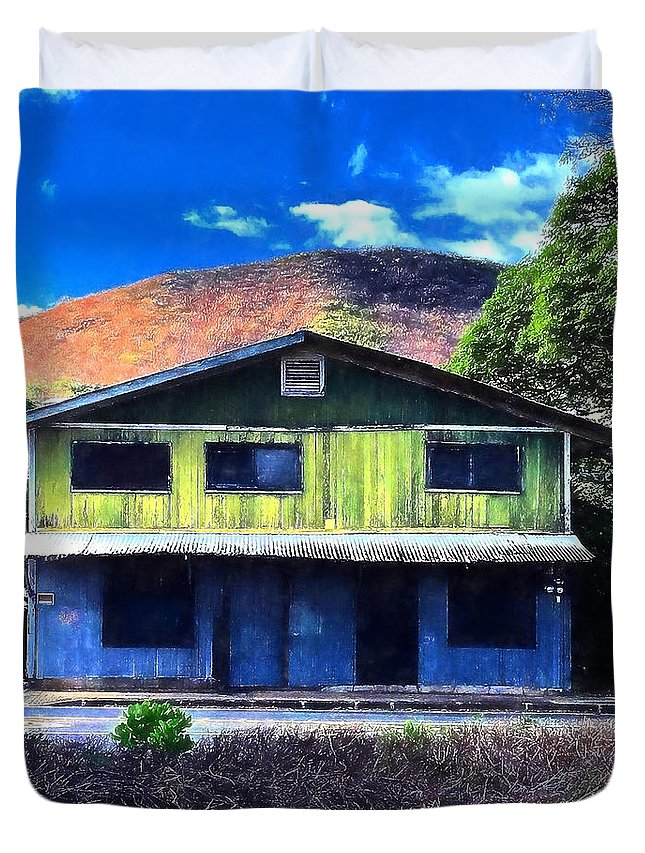 Old Hawaii Duvet Cover featuring the photograph Old Hawaii Store - Signed by Robert Abbett