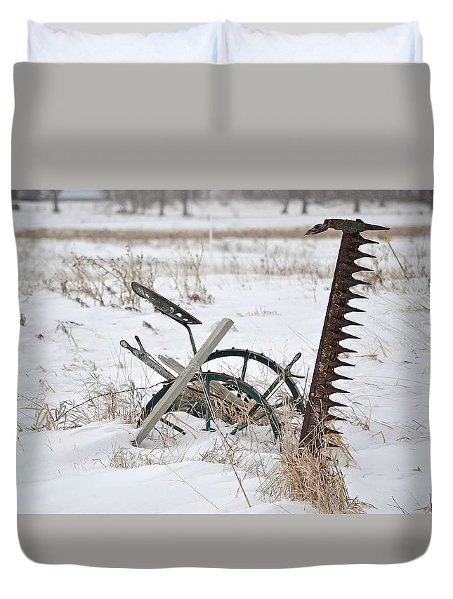 Antique Duvet Cover featuring the photograph Old Horse Drawn Sickle Mower by Nicole Frederick