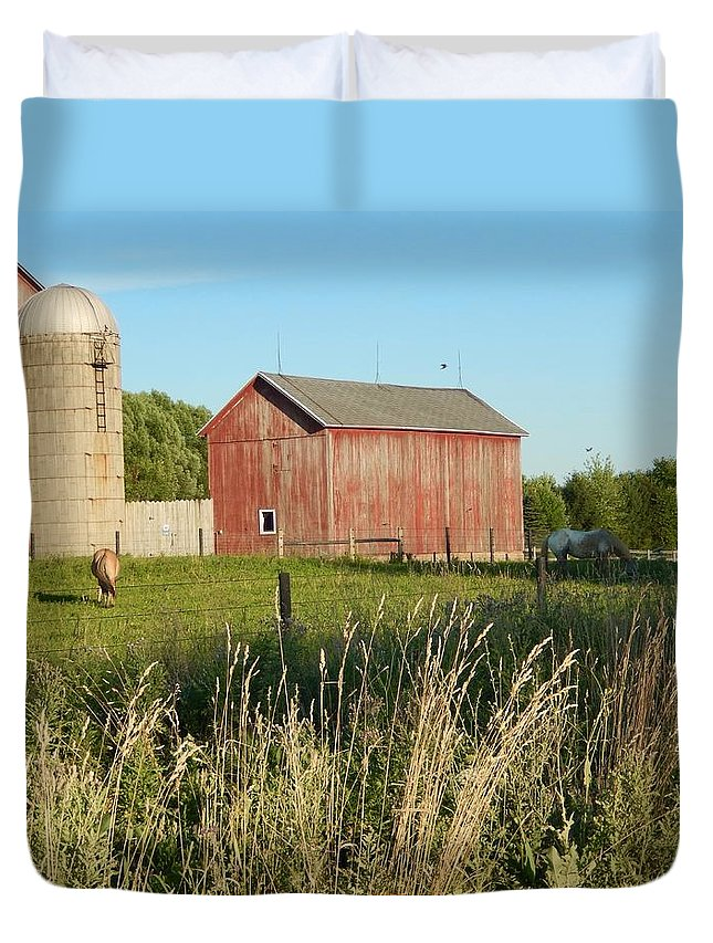 Horses Duvet Cover featuring the photograph Old Horse Farm by Susan Wyman