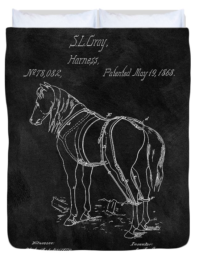 1868 Horse Harness Patent Duvet Cover featuring the drawing Old Horse Harness Patent by Dan Sproul