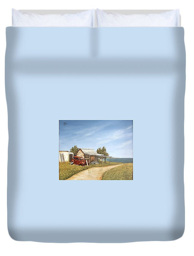 Old House Sea Seascape Landscape Duvet Cover featuring the painting Old House By The Sea by Natalia Tejera