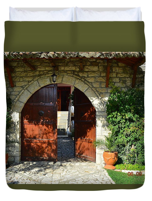 Duvet Cover featuring the photograph Old House Door by Nuri Osmani