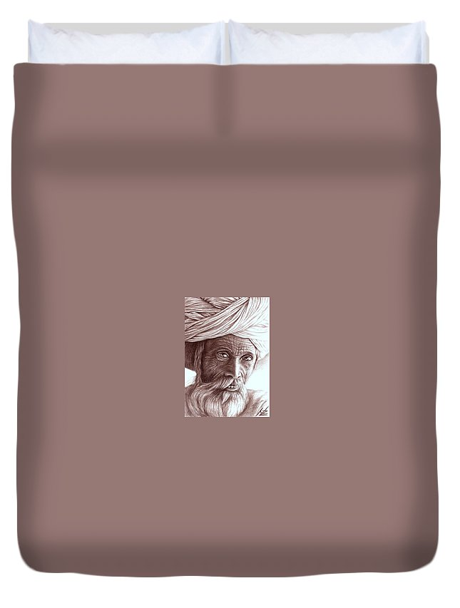 Man Duvet Cover featuring the drawing Old Indian Man by Nicole Zeug