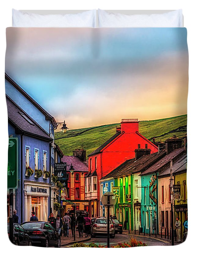 Barn Duvet Cover featuring the photograph Old Irish Town The Dingle Peninsula At Sunset by Debra and Dave Vanderlaan