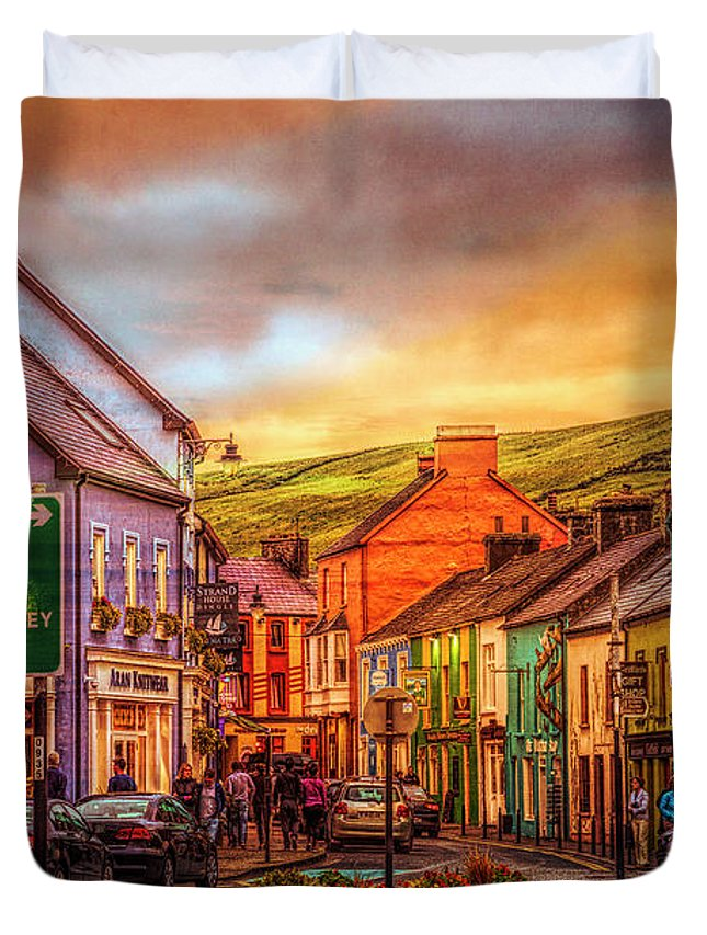 Barn Duvet Cover featuring the photograph Old Irish Town The Dingle Peninsula Late Sunset by Debra and Dave Vanderlaan