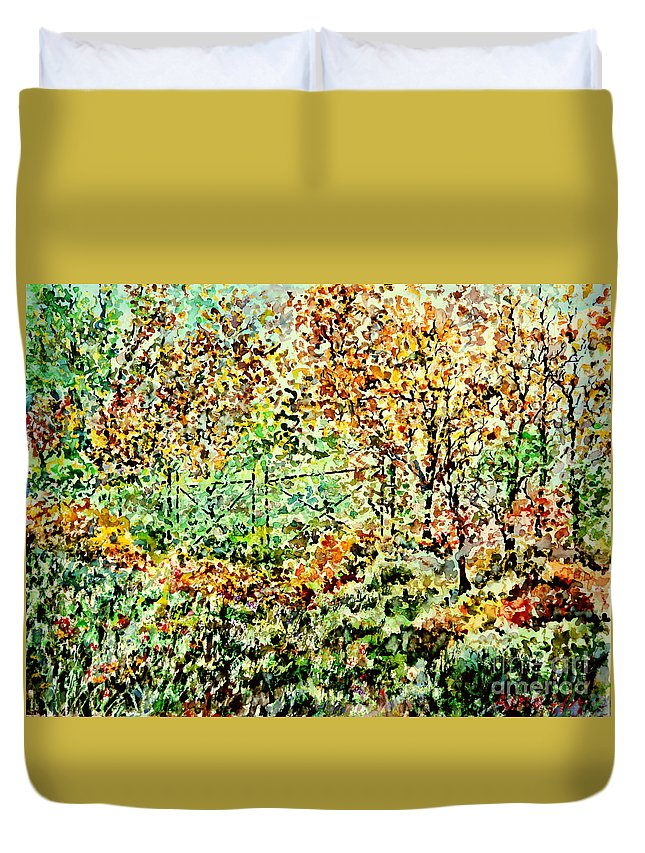 Watercolor Duvet Cover featuring the painting Old Iron Door by Almo M