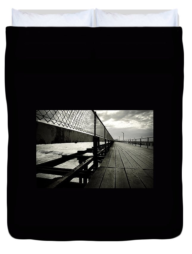 Old Duvet Cover featuring the photograph Old Jetty by Kelly Jade King