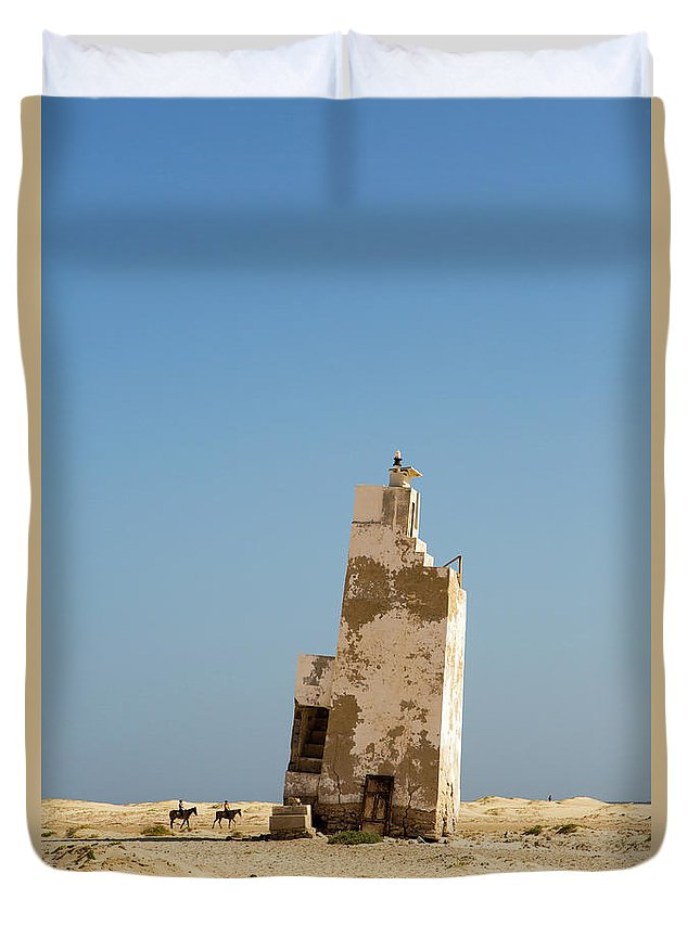 Verde Cape Panoramic Lighthouse Landscape Coast Navigation Sky Sand Cabo Boat Old Help Walk Swim Sea Travel Monument Light Sal Ocean History Duvet Cover featuring the photograph Old Lighthouse by Alexander Manykin