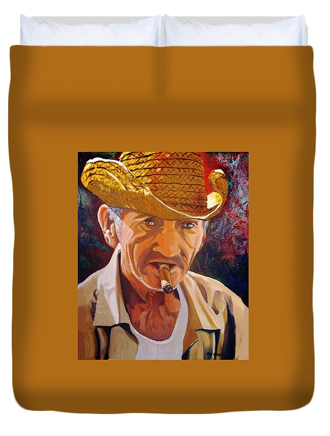 Cuban Art Duvet Cover featuring the painting Old Man by Jose Manuel Abraham