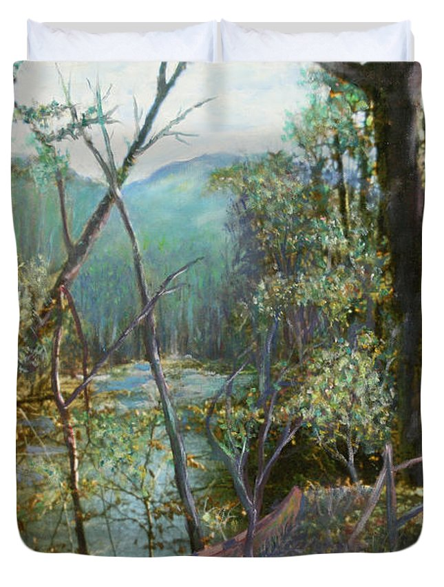River; Trees; Landscape Duvet Cover featuring the painting Old Man River by Ben Kiger