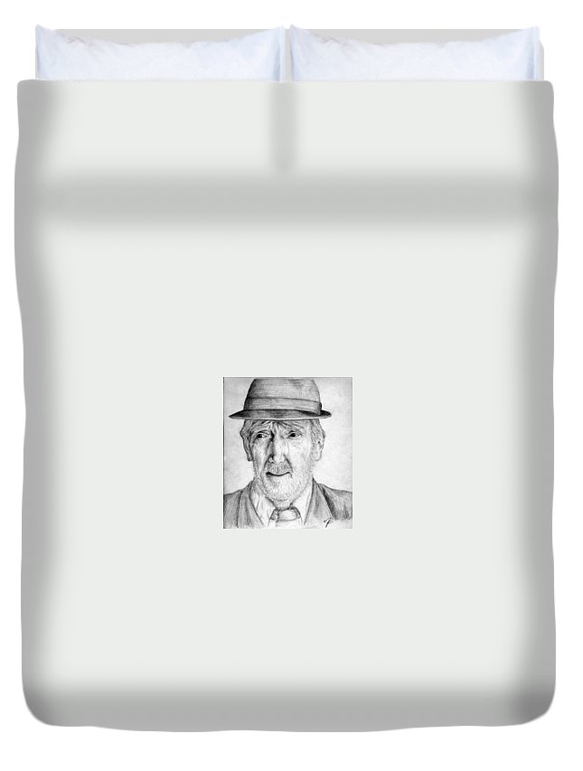 Man Duvet Cover featuring the drawing Old Man With Hat by Nicole Zeug
