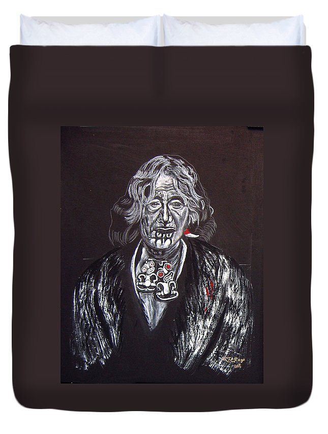 Maori Duvet Cover featuring the painting Old Maori Wahine by Richard Le Page