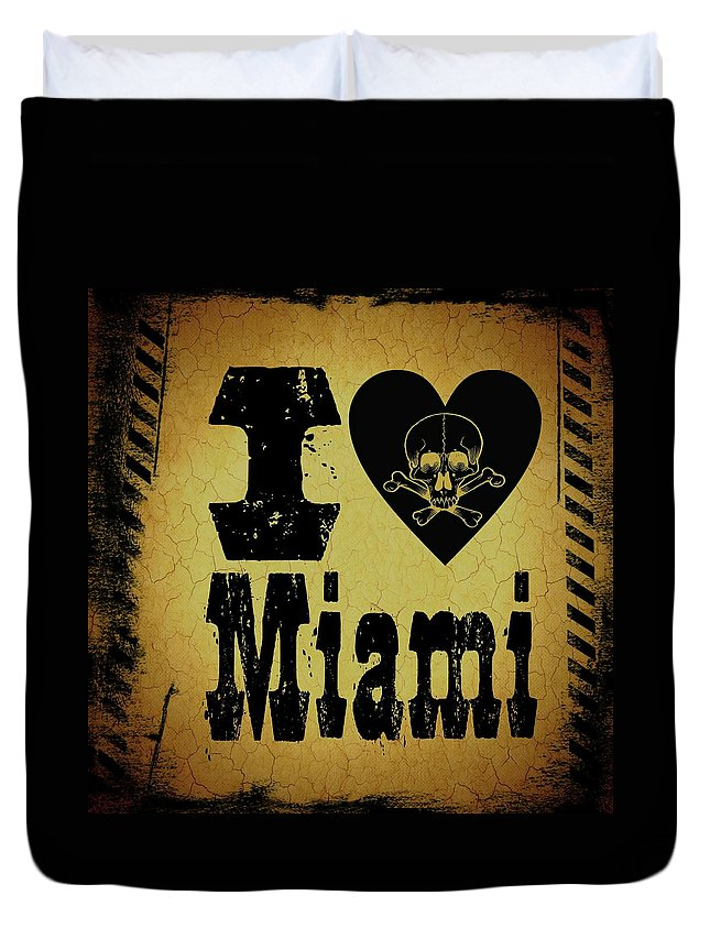 Miami Duvet Cover featuring the digital art Old Miami by Randolph Ping