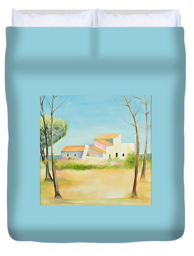 Impressionism Duvet Cover featuring the painting Old Mill In The Algarve by Jenny anne Morrison