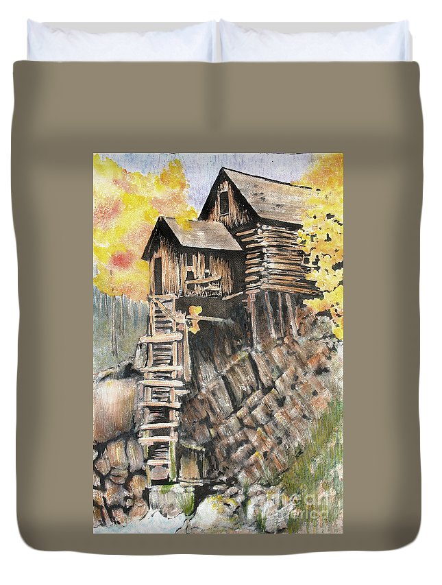 Sokolovich Duvet Cover featuring the painting Old Mill In The Rockies by Ann Sokolovich