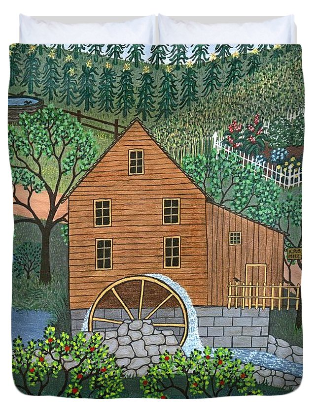 Landscape Duvet Cover featuring the painting Old Mill by Linda Mears