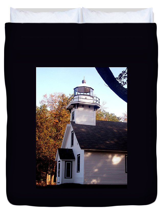 Lighthouse Duvet Cover featuring the painting Old Mission Point Light House by Wayne Potrafka