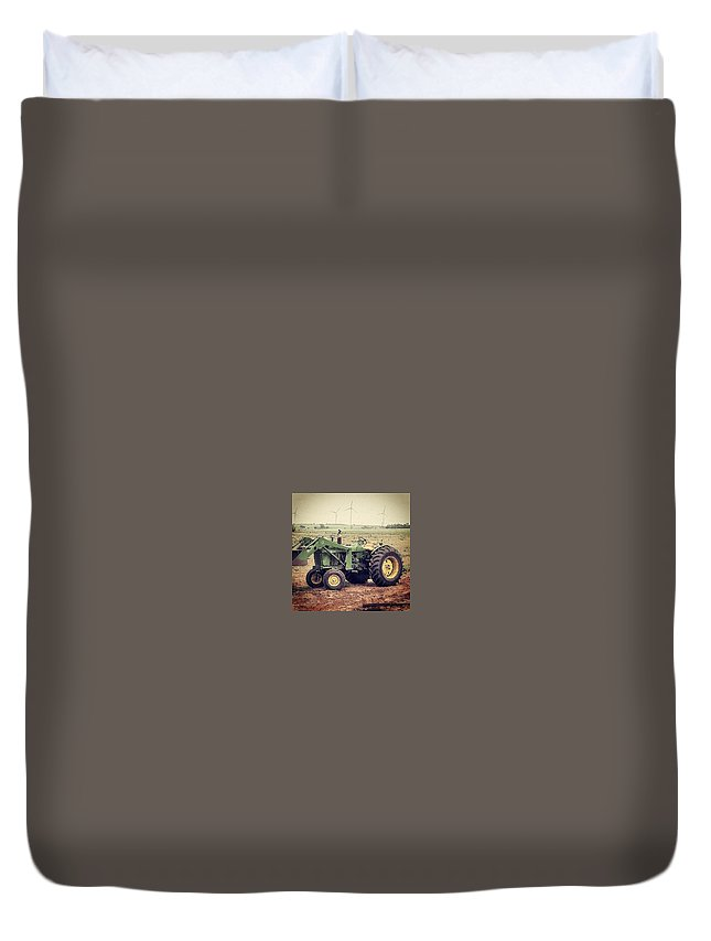 John Deere Tractor Duvet Cover featuring the photograph Old Model In A Younger Generation by Cheyene Vandament