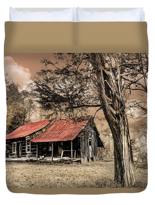 Appalachia Duvet Cover featuring the photograph Old Mountain Cabin by Debra and Dave Vanderlaan