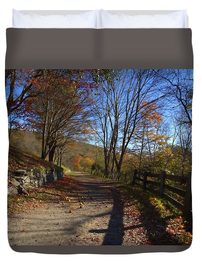 Mountain Road Duvet Cover featuring the photograph Old Mountain Road by Larry Jones
