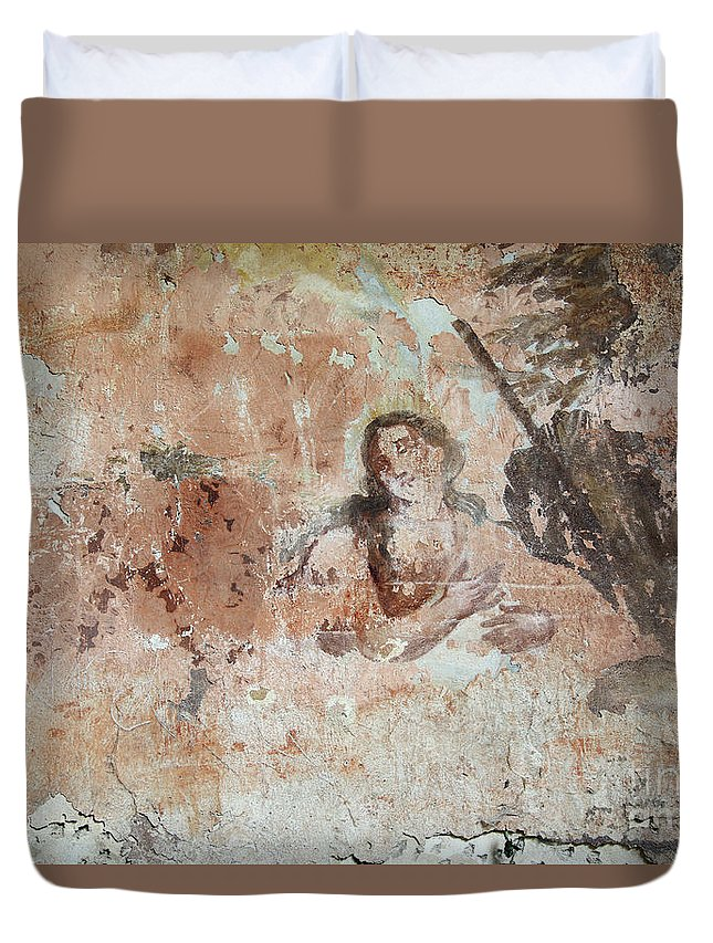 Painting Duvet Cover featuring the photograph Old Mural Painting In The Ruins Of The Church by Michal Boubin