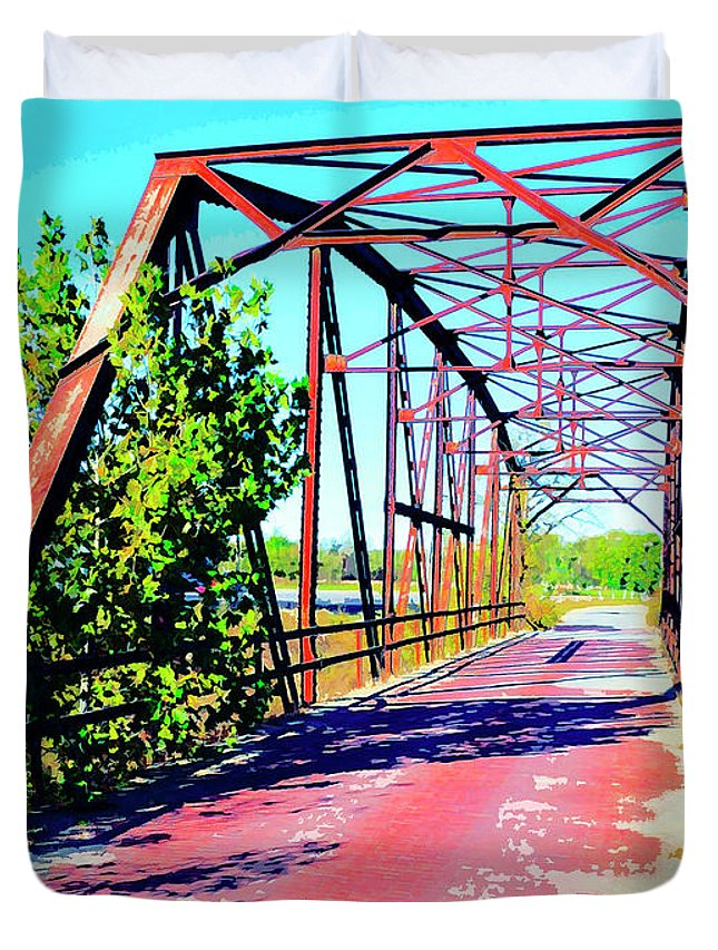 Old Ozark Trail Bridge Duvet Cover featuring the mixed media Old Ozark Trail Bridge by Dominic Piperata