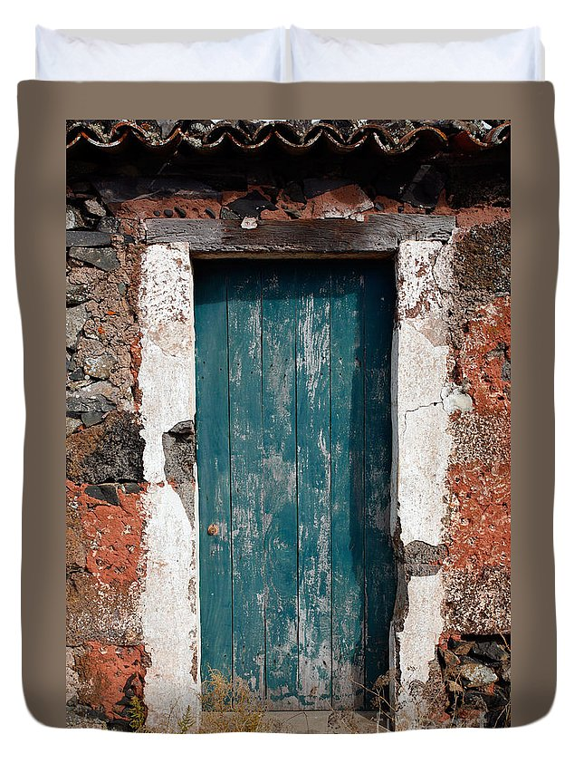 Abandoned Duvet Cover featuring the photograph Old Painted Door by Gaspar Avila