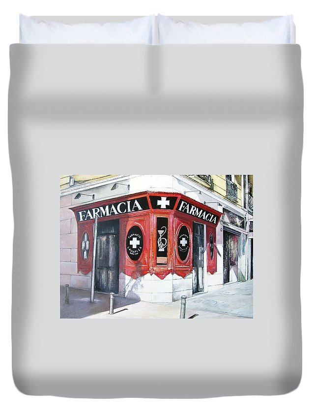 Pharmacy Duvet Cover featuring the painting Old Pharmacy by Tomas Castano