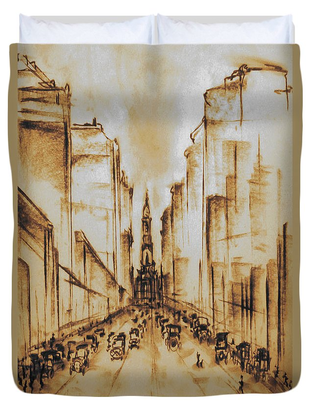 Philadelphia Duvet Cover featuring the drawing Old Philadelphia City Hall 1920 by Peter Potter