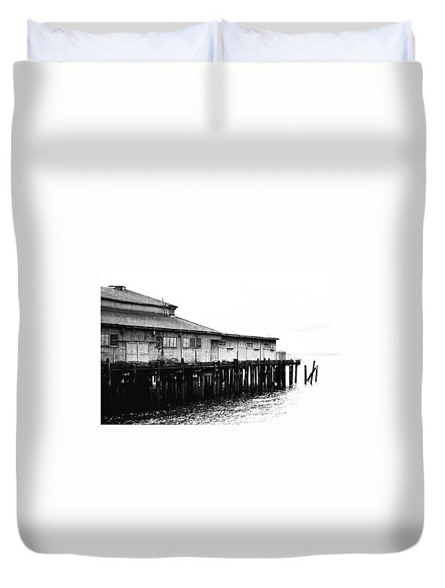 History Duvet Cover featuring the photograph Old Pier by Karen Ulvestad