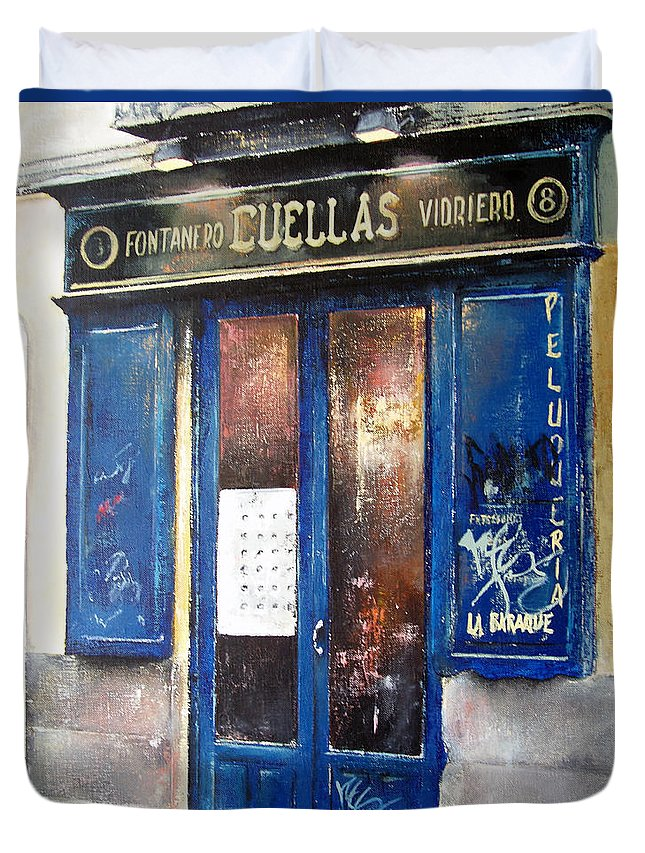 Old Duvet Cover featuring the painting Old Plumbing-madrid by Tomas Castano