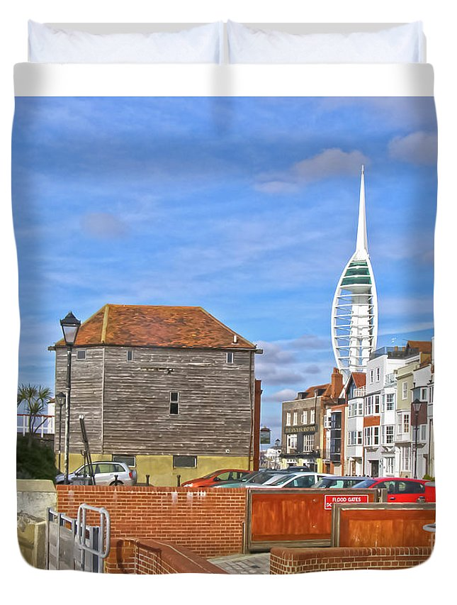Old Portsmouth Duvet Cover featuring the photograph Old Portsmouth Flood Gates by Terri Waters