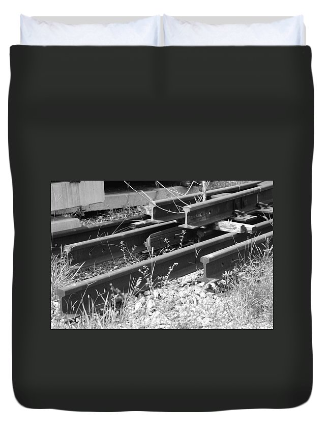 Black And White Duvet Cover featuring the photograph Old Rails by Rob Hans