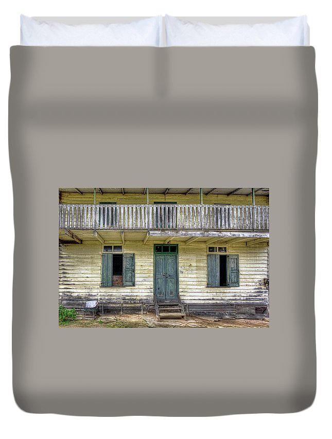 Suriname Duvet Cover featuring the photograph Old River House by Nadia Sanowar