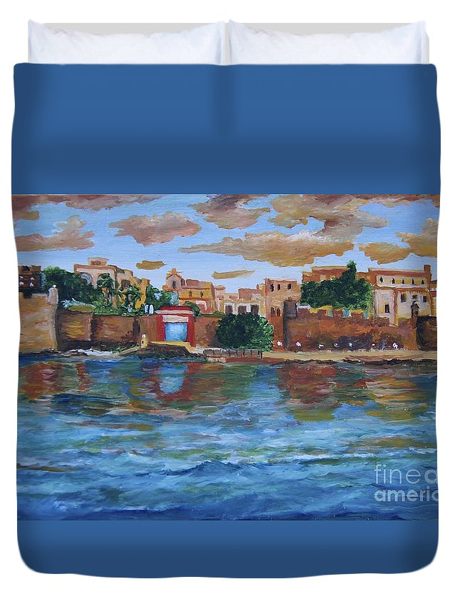 Alicia Maury Prints Duvet Cover featuring the painting Old San Juan Gate, 4x6 In. Original Is Sold by Alicia Maury