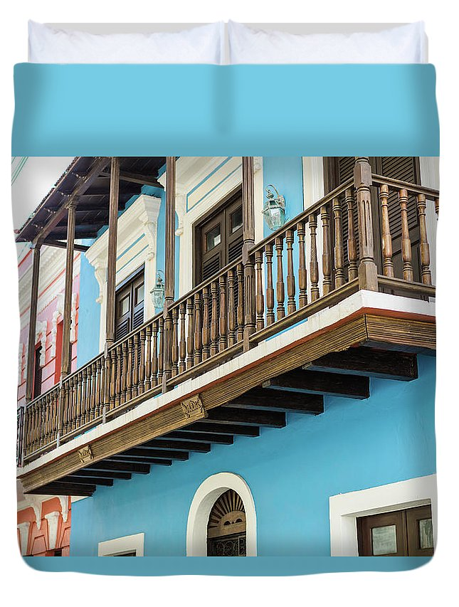 Colorful Duvet Cover featuring the photograph Old San Juan Houses In Historic Street In Puerto Rico by Jasmin Burton
