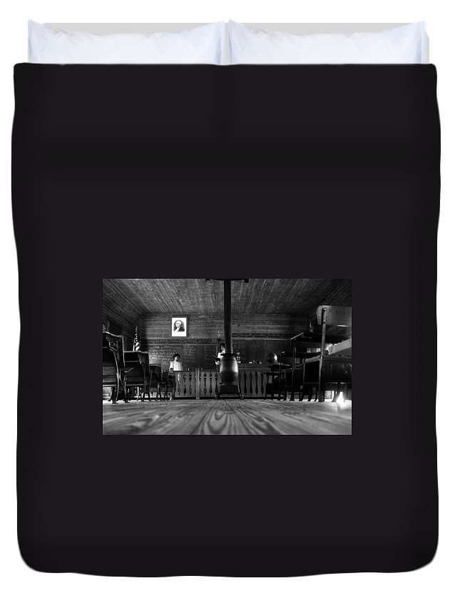 School House Duvet Cover featuring the photograph Old School by David Lee Thompson