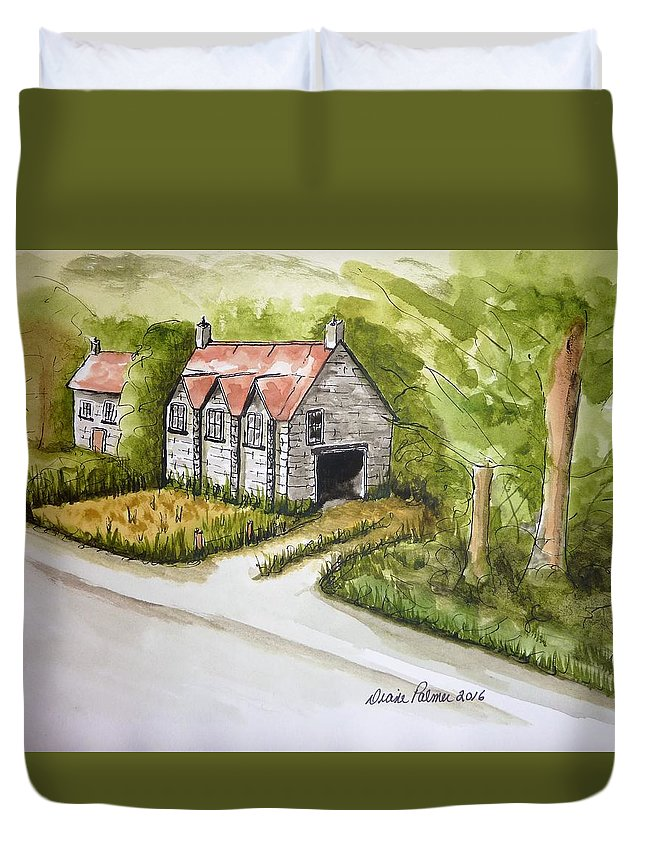 Trees Duvet Cover featuring the painting Old Scottish Stone Barn by Diane Palmer