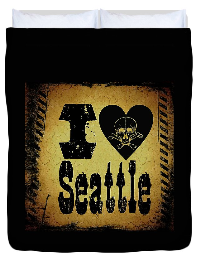 Seattle Duvet Cover featuring the digital art Old Seattle by Randolph Ping