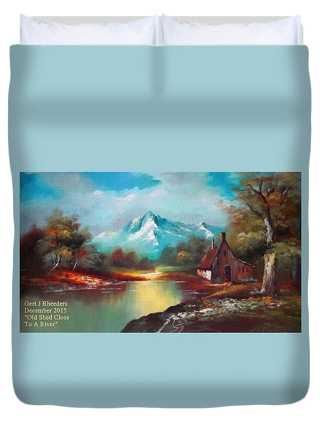 Rural Duvet Cover featuring the painting Old Shed Close To A River H A by Gert J Rheeders
